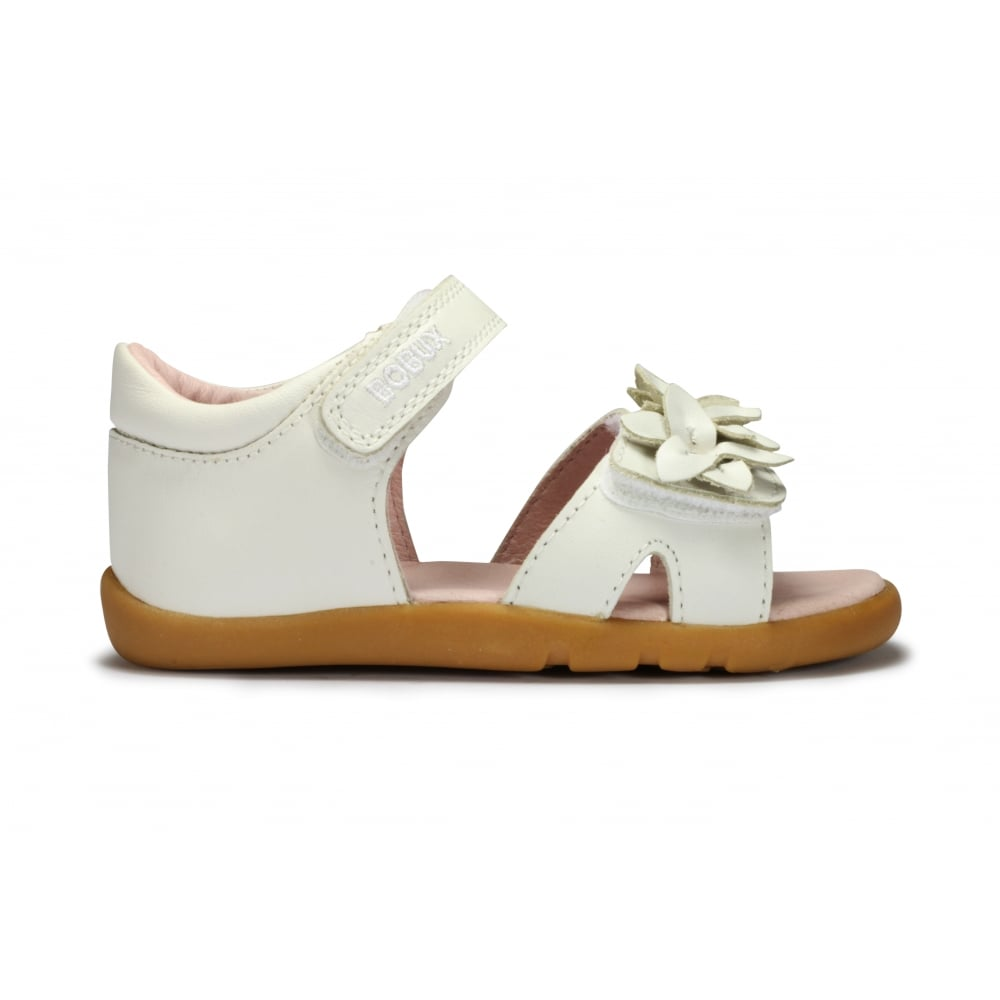 d7479e6d27151b BOBUX BREEZE White Leather Flower Detail Adjustable Sandal - Girls ...