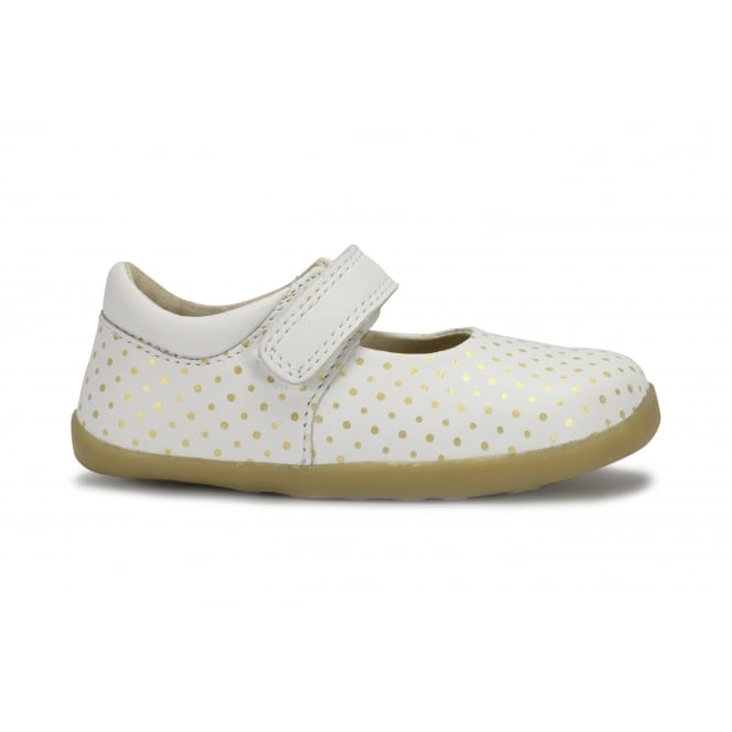 BOBUX DANCE White With Gold Spots Mary Jane Shoe