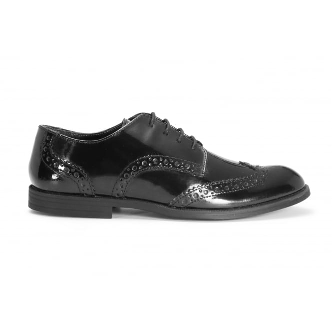 START-RITE BURFORD Black Patent Leather Lace Up Brogue Style School Shoe