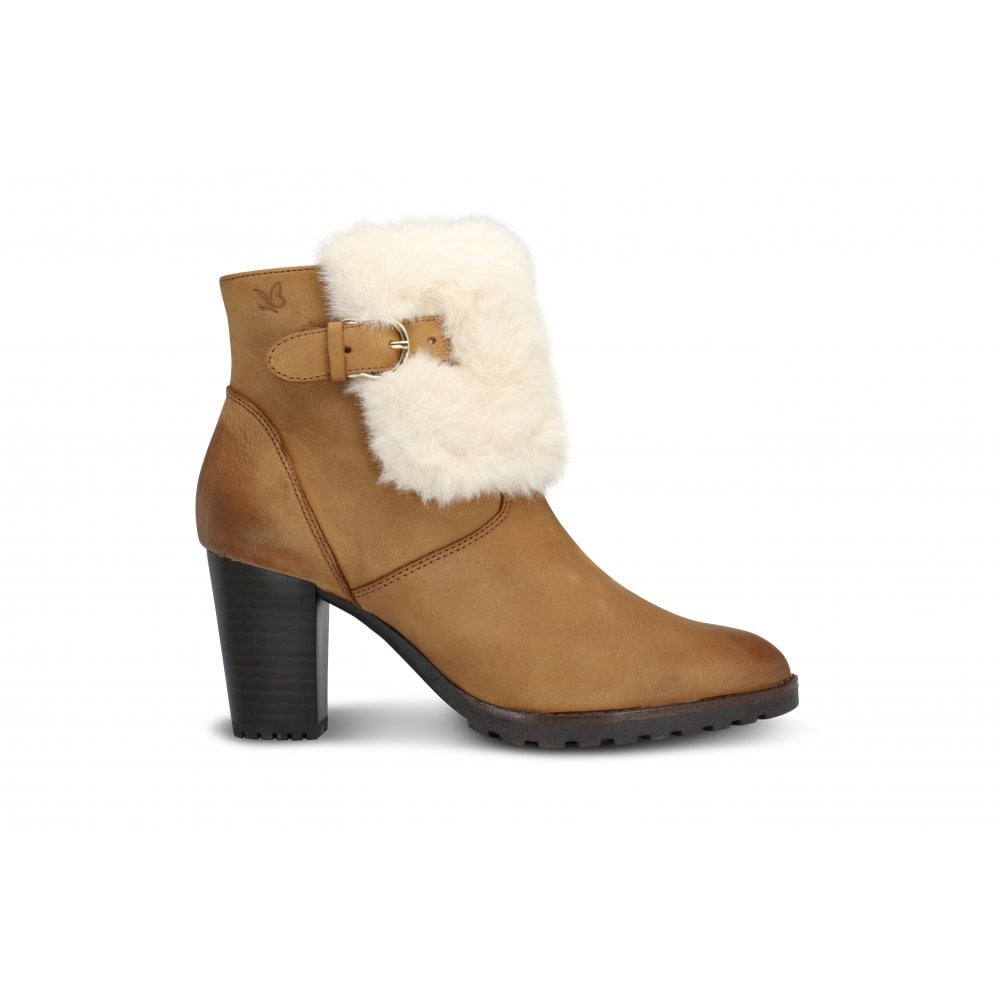 2ae328a984c45c CAPRICE 9 25424 21 Camel Leather Fur Trimmed Heeled Ankle Boot ...