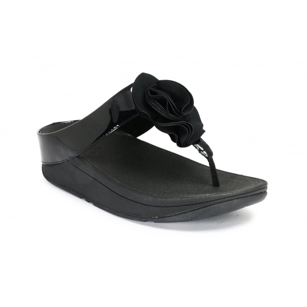 5866a7379a660f FITFLOP FLORRIE Black Patent Toe Post Slide - Ladies from Footloose UK