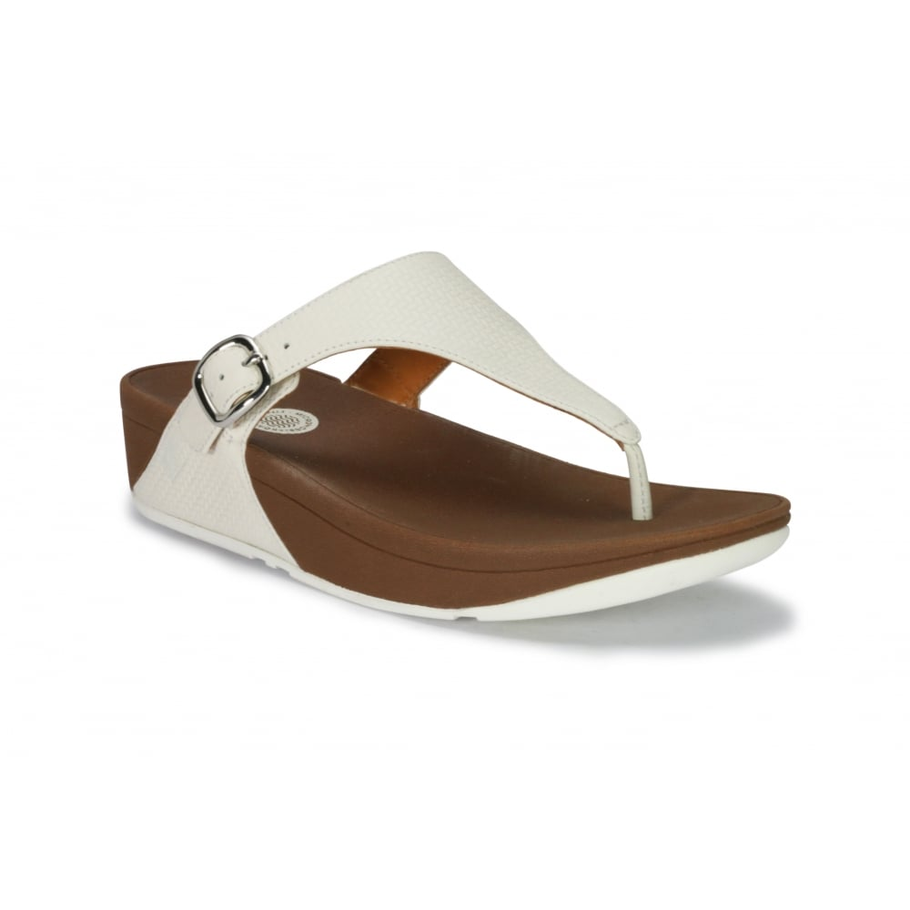 4574c5a9f2820 FITFLOP SKINNY White Embossed Leather Buckle Fastening Toe Post Fit ...
