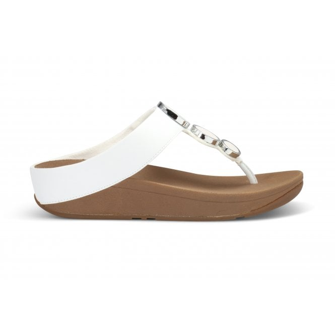 FITFLOP WHITE CIRCLES TOE THONG