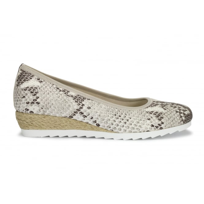 GABOR EPWORTH Snake Print Jute Wedge