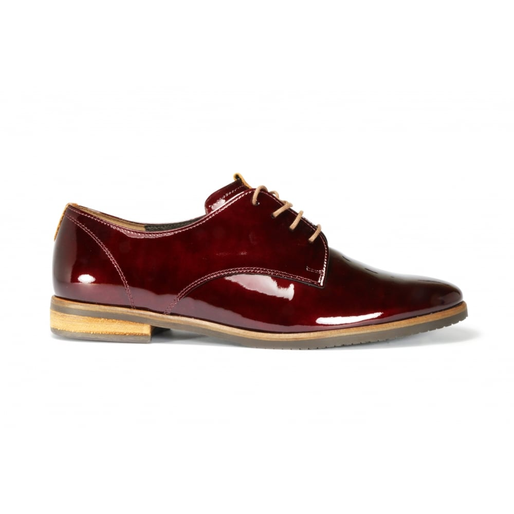 e3a6800f9a2 GABOR GONDOLA Wine Patent Leather Lace Up Flat Shoe - Ladies from ...
