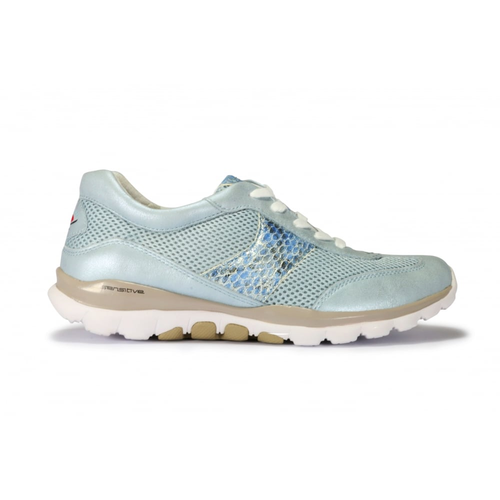 8bac97f2237e0 GABOR HELEN Metallic Pale Blue Leather and Mesh Lace Up Trainer ...