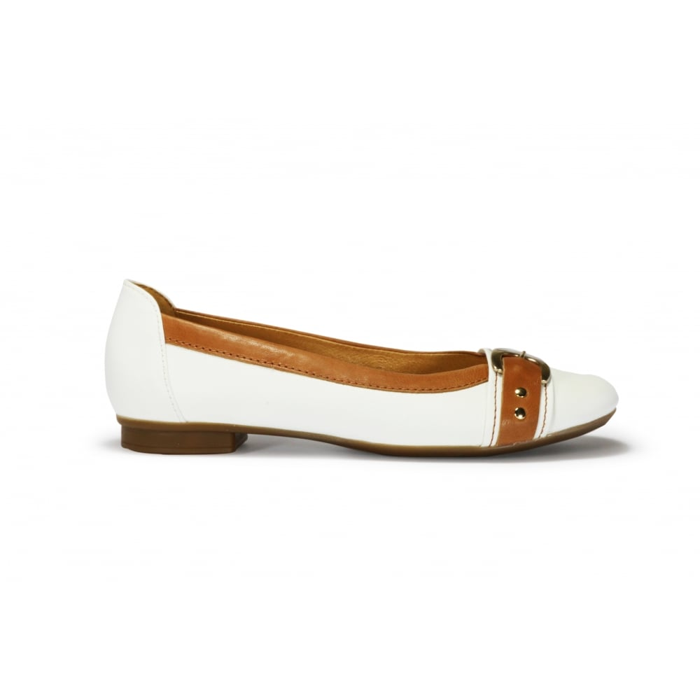 216c381dda8c GABOR INDIANA White and Tan Leather Classic Shoe - Ladies from ...