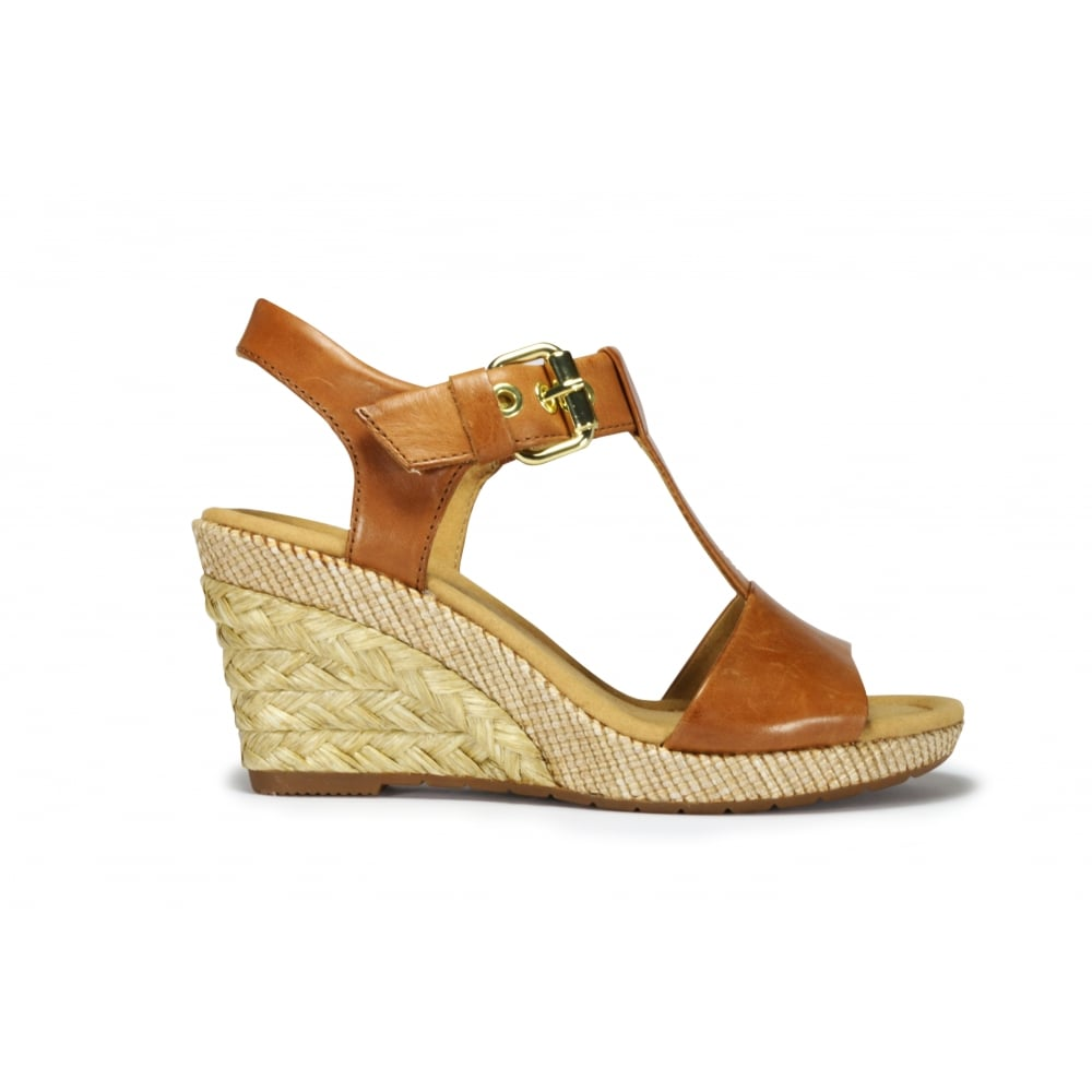 cheaper differently well known GABOR KAREN Tan Leather Wedge Heeled Buckle Sandal