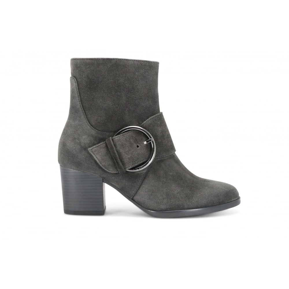 fd35be2fee2 GABOR LUSH Grey Suede Buckle Strap Ankle Boot