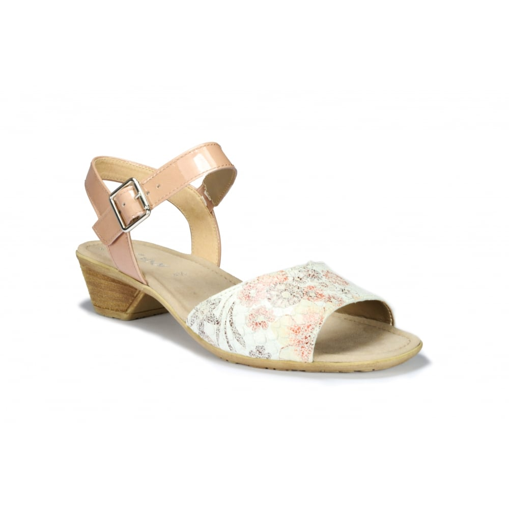 5641a01d1f1 GABOR PICASSO Low Heeled Floral Leather Buckle Fastening Sandal ...