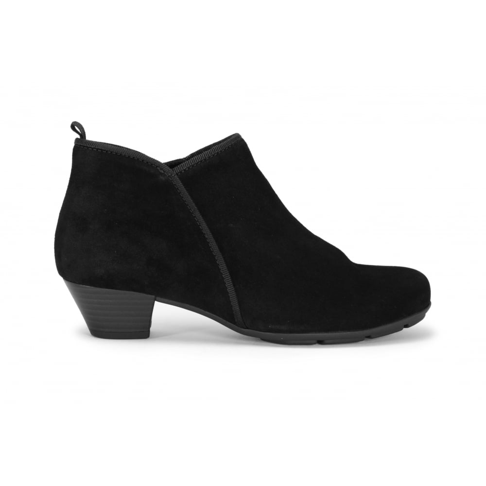580f0ffd8330 GABOR TRUDY Black Suede Low Heel Ankle Boot - Ladies from Footloose UK