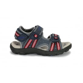 B STRADA Navy and Red Leather and Mesh 2 Velcro Strap Sandal