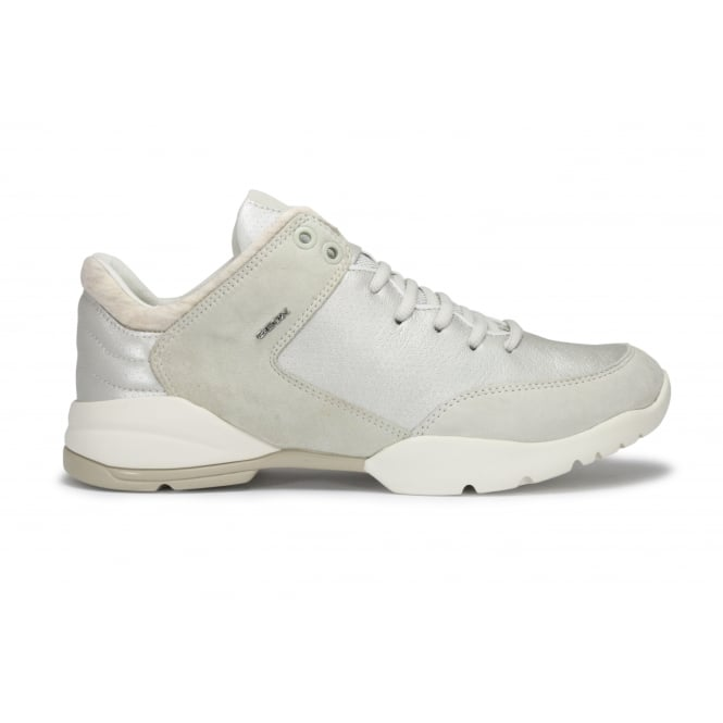 GEOX D SFINGE Metallic and Ivory Lace Up Sneaker