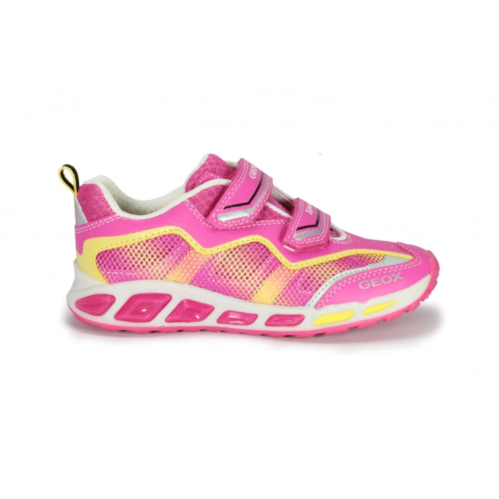 GEOX J SHUTTLE Pink and Yellow Leather and Mesh Trainer with Lights ... c8240bdb7