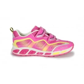 J SHUTTLE Pink and Yellow Leather and Mesh Trainer with Lights