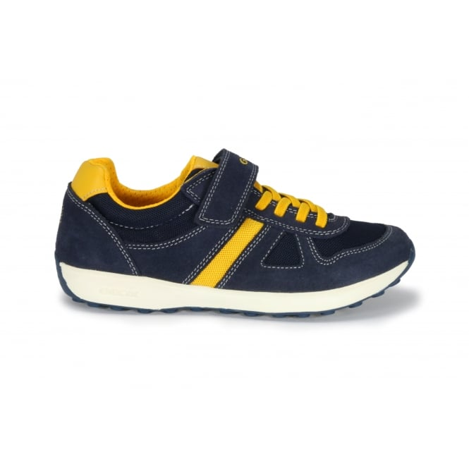 GEOX J XITIZEN Navy Suede and Mesh 1 Velcro Strap Yellow Acccents