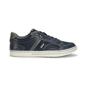 JR GARCIA BOY Navy and grey leather lace up sneaker style shoe