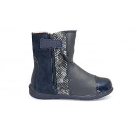 KAYTAN Navy Suede/Leather Snake Print Mid Boot