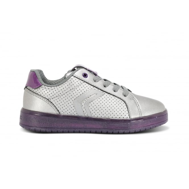 GEOX KOMMODOR G Silver Purple LED Lights Lace Up Trainer