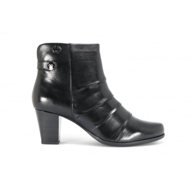 GERRY WEBER LOUANNE 09 Black Leather Gathered Front Heeled Ankle Boot