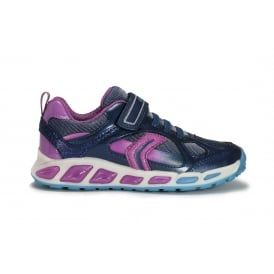J SHUTTLE Navy and lilac girls trainer with flashing lights
