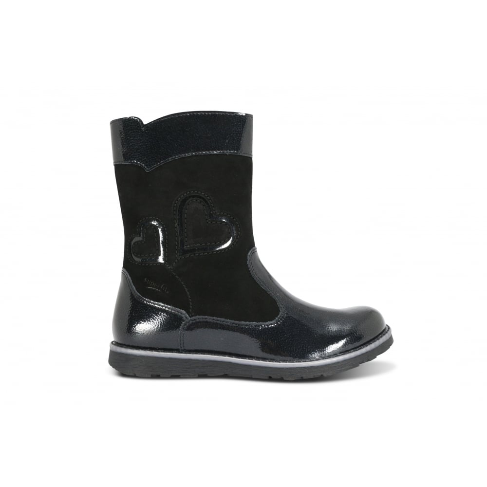 d2529e33370 LEGERO 00383-01 Black Patent Leather and Suede Waterproof Boot ...