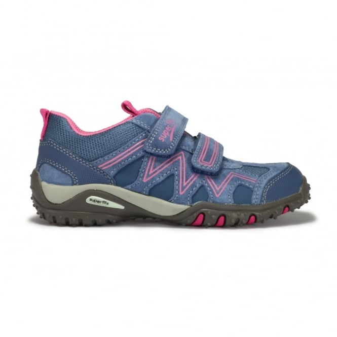 LEGERO SUPERFIT 0224-91 Purple Suede and Mesh Pink Detail 2 Strap Trainer