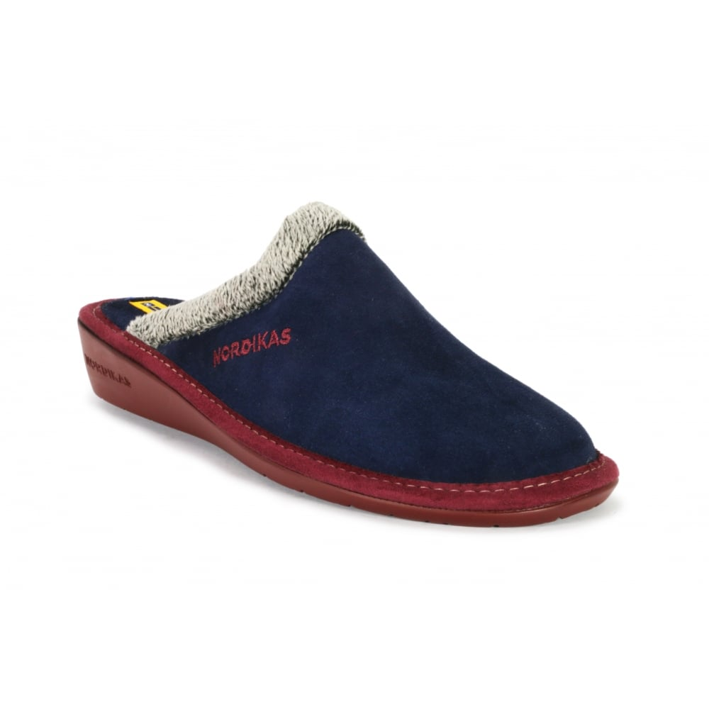 1c6d95faa946f NORDIKA 234/8 Fur Trimmed Suede Mule Slipper - Ladies from Footloose UK