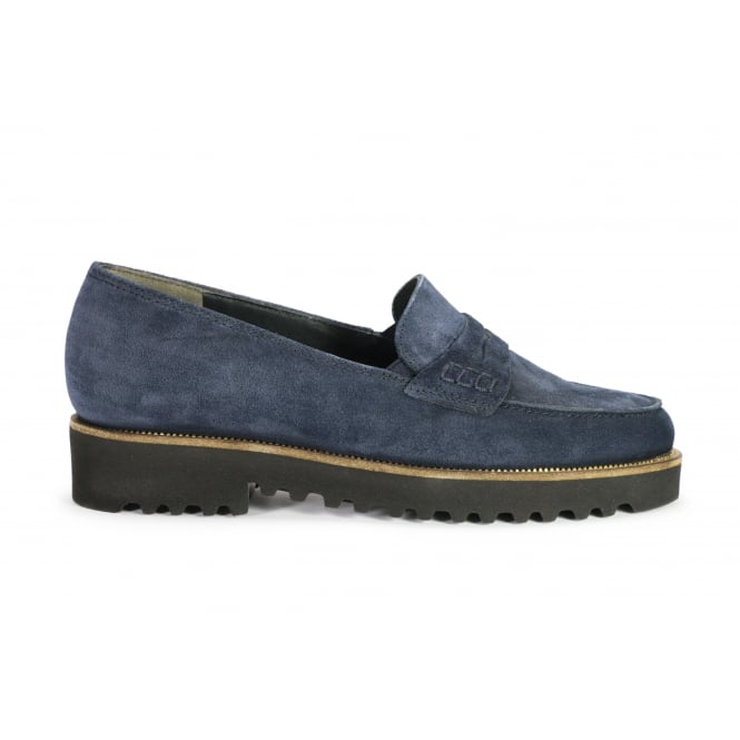 PAUL GREEN 1011-028 Navy Suede loafer with rubber sole