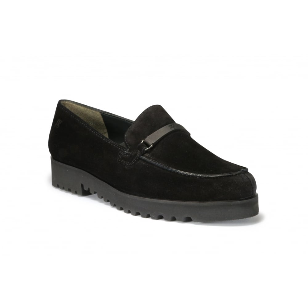 2edf934ef0e PAUL GREEN 1763-006 Black Suede Leather Creeper Style Ladies Loafer ...