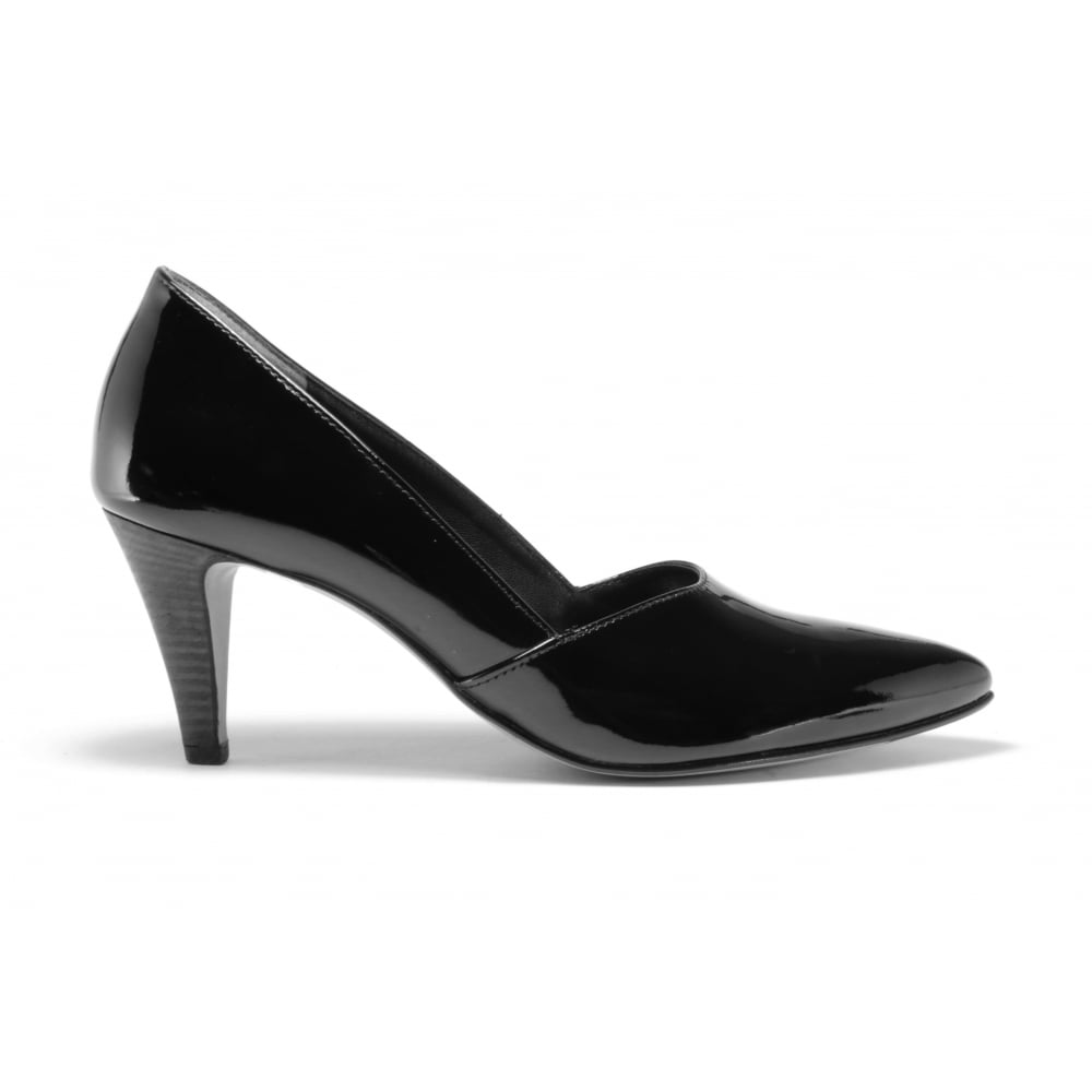 532b2d37025 3367-016 Black Patent High Heeled Pointed Toe Court Shoe