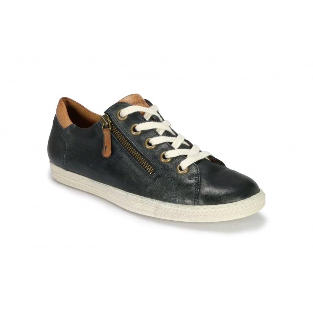 4128 Leather Trainer With Zip 4 Navy 3h6H6DJuK