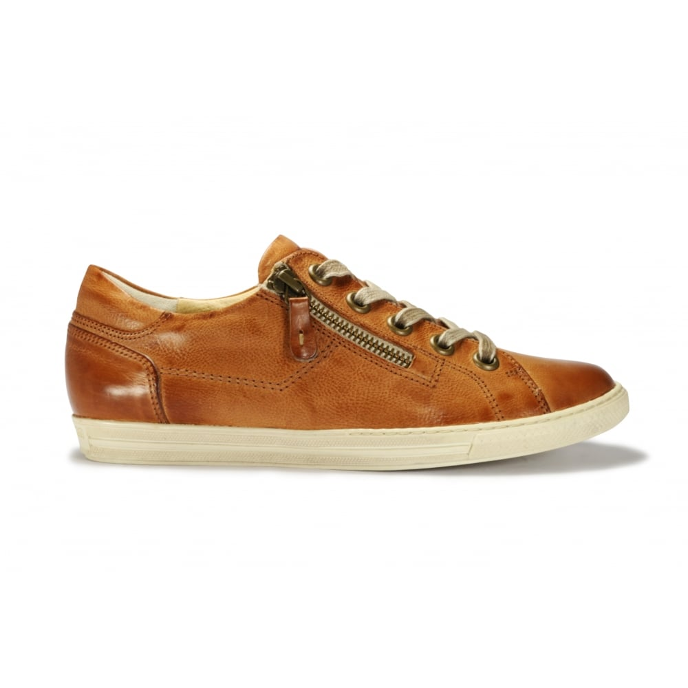e10a135c2f PAUL GREEN 4128-217 Tan Leather Lace Up Zip Up Flat Shoe - Ladies ...
