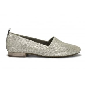 PAUL GREEN 4243-169 Silver Perforated Leather Flat Shoe