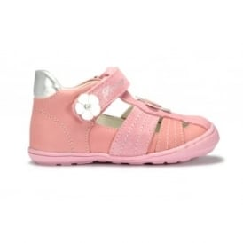 EMMA Pink Suede Closed Toe Velcro Sandal