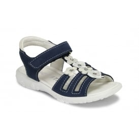 CHICA Navy Suede Leather Velcro Strap Sandal