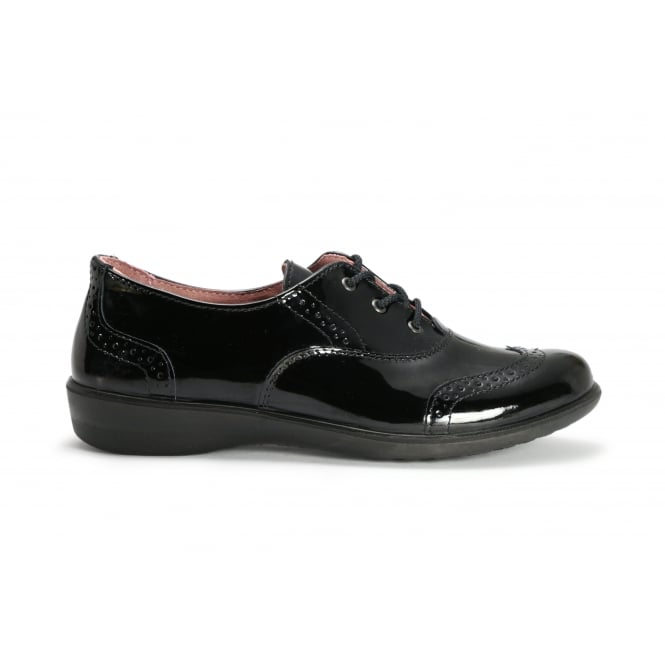 RICOSTA KATIE Patent Black Leather Lace Up Brogue School Shoe