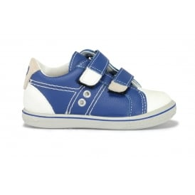 NIPPY Blue Leather 2 Velcro Strap White Toe Cap Casual Shoe