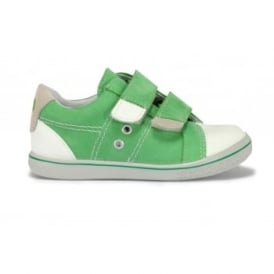 NIPPY Green Leather 2 Velcro Strap White Toe Cap Casual Shoe