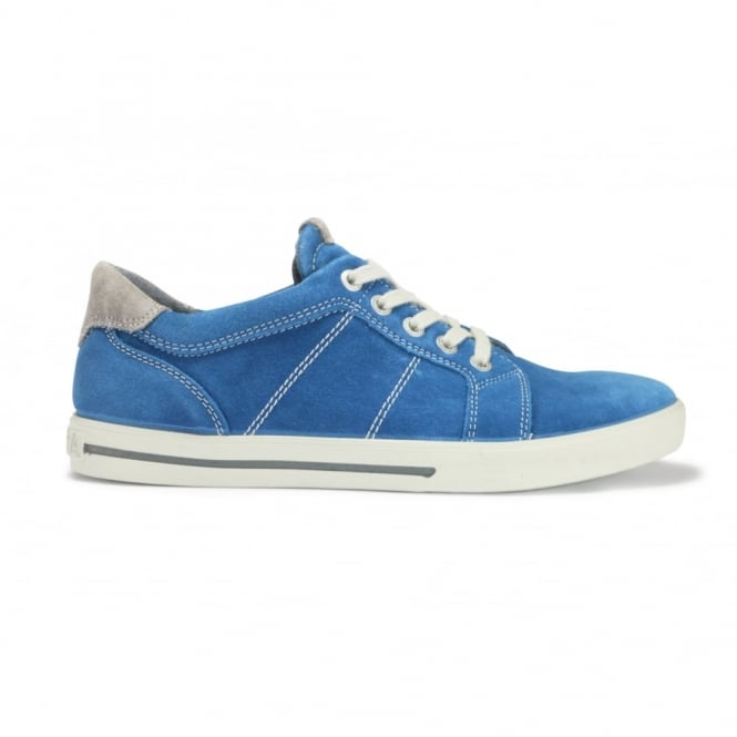 RICOSTA ROY Petrol Blue Suede Leather Lace Up Casual Shoe