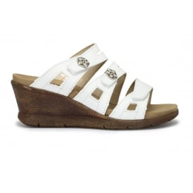FIDSCHI 22 White Wedge Strappy Slide