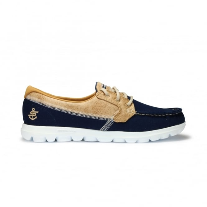 5bacc6483f2d SKECHERS BREEZY Navy Canvas Brown Fabric Deck Shoe Lace Up - Ladies ...