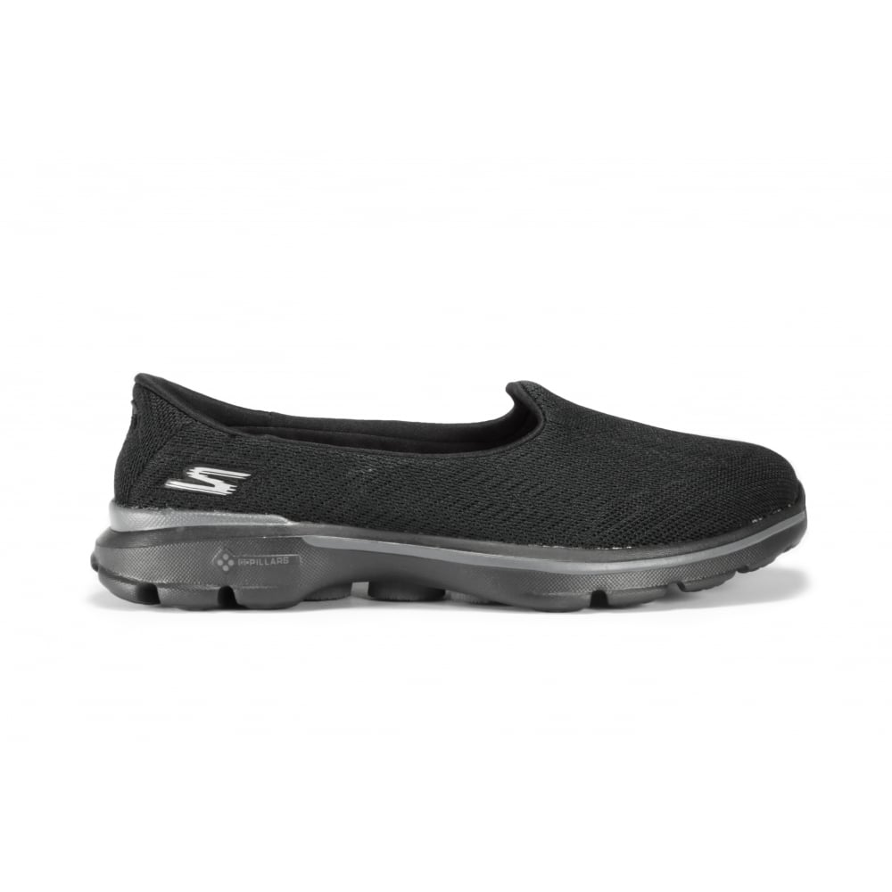 1ef57cedf SKECHERS GO WALK 3 Black Fabric Slip On Flat Shoe - Ladies from ...