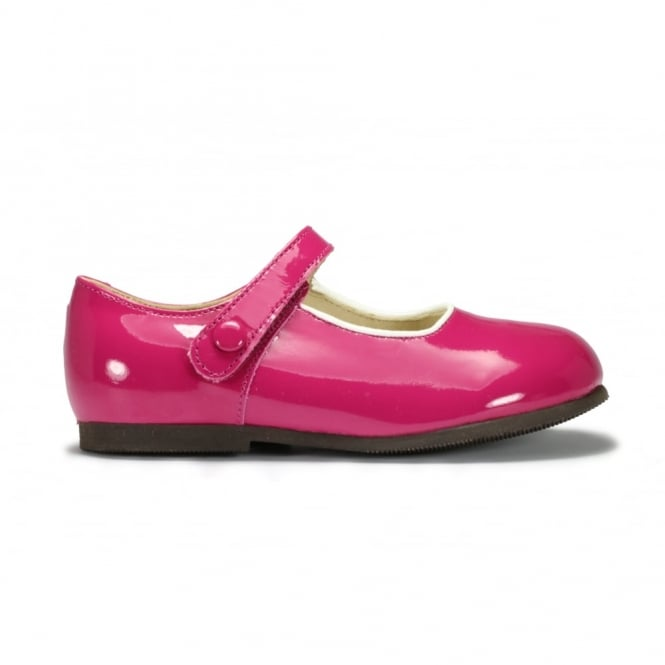 START-RITE CATY Bright Pink Patent Mary Jane Velcro Strap White Accents Classic Shoe