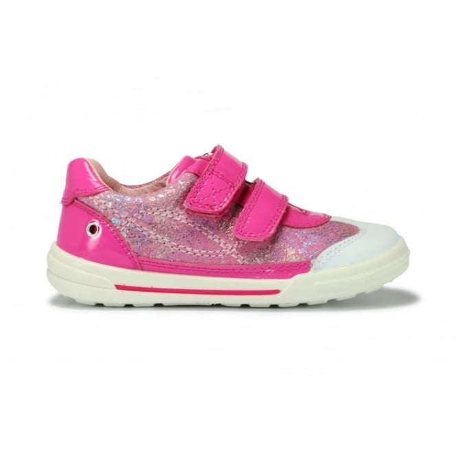 START-RITE FLEXY SOFT TURIN Pink Patent and Pink Metallic Leather 2 Strap Velcro Closed Shoe