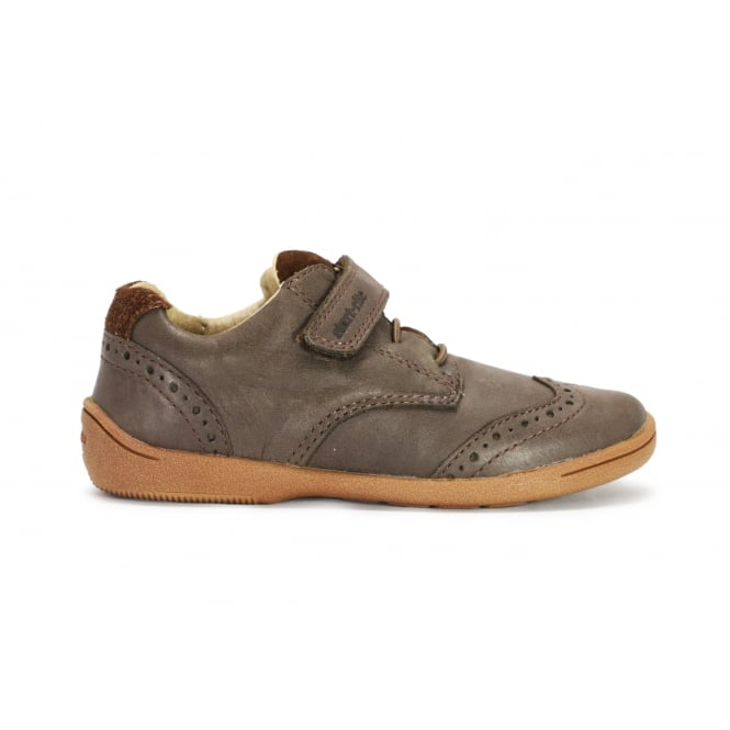 START-RITE HUGO Super Soft Brown Leather Brogue Style 1 Velcro Strap Shoe