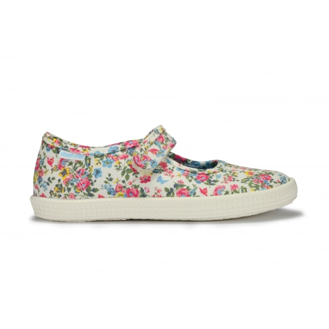 START-RITE POSY Floral Canvas Mary Jane Style Velcro Fastening Shoe