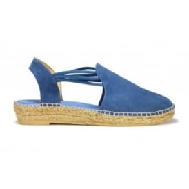 NURIA Suede Leather Low Wedge Espadrille